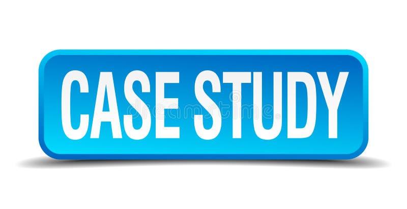 blauer realistischer quadratischer Knopf 3d der Fallstudie stock abbildung