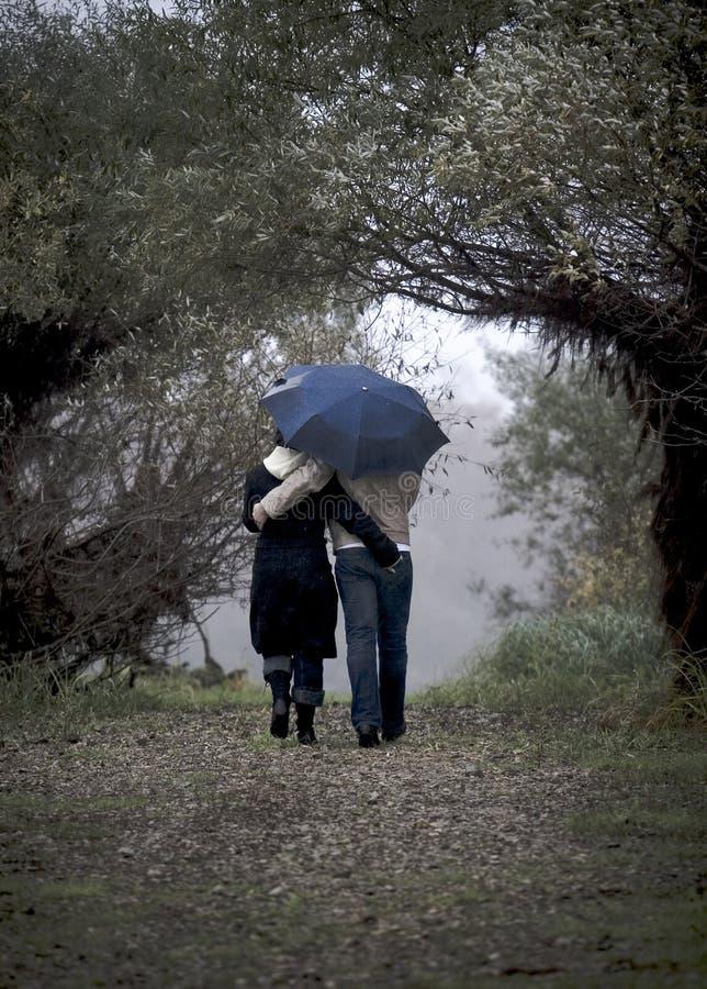 Blauer Regenschirm stockfotos