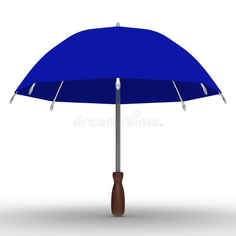 Blauer Regenschirm auf weißem Hintergrund lizenzfreie abbildung