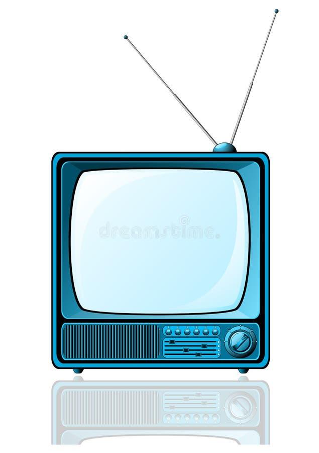 Blauer Retro- Fernsehapparat stock abbildung