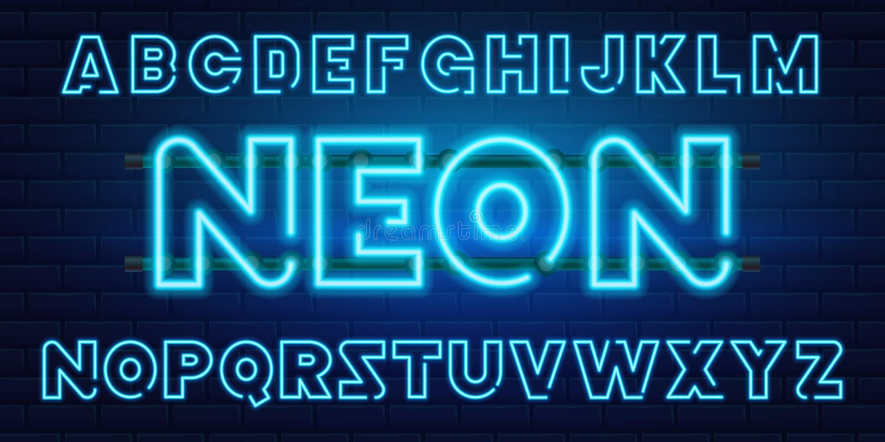 blauer Retro- Neonguß mit 80 s Futuristische Chrombuchstaben Helles Alphabet auf dunklem Hintergrund Helles Symbol-Zeichen für Na vektor abbildung