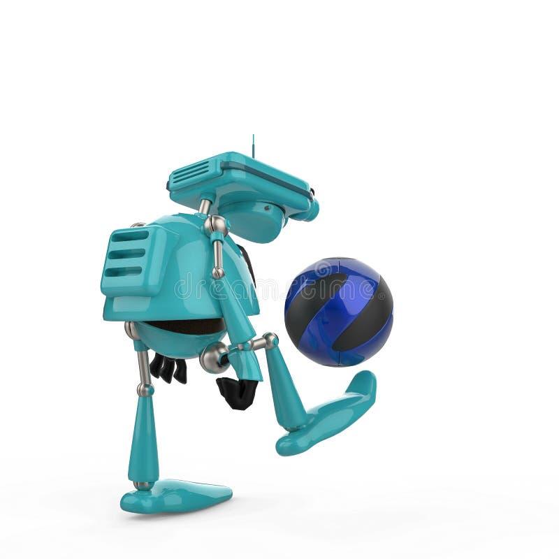 Blauer Roboter der Weinlese in einem weißen Hintergrund stock abbildung