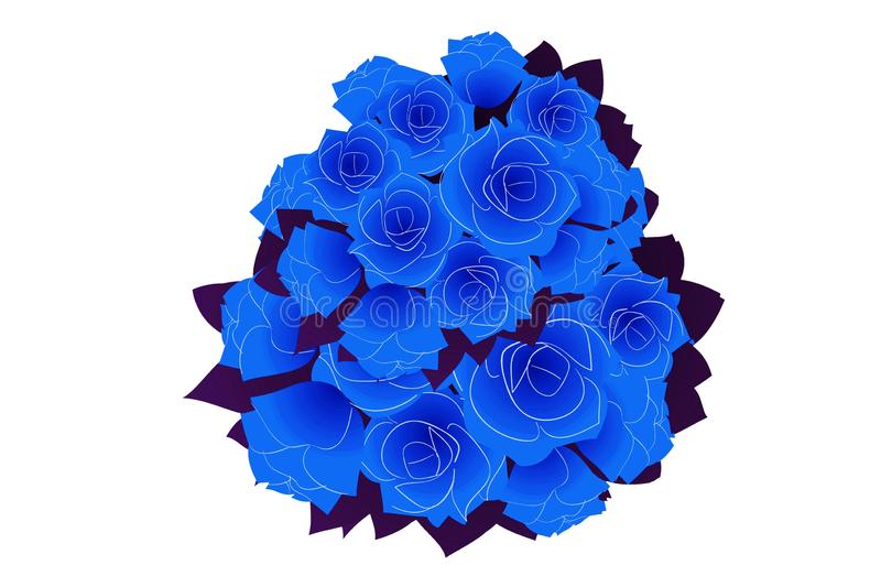 Blauer Rosenblumenstrauß der Fantasie auf weißem Hintergrund Abstraktes Hintergrundmosaik stockfotos