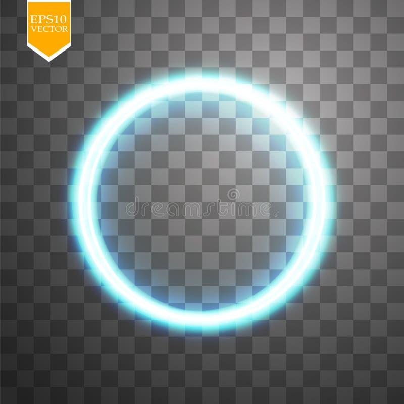 Blauer runder glänzender Kreisrahmen auf transparentem Hintergrund Schöner abstrakter heller Luxusring Vektor lizenzfreie abbildung