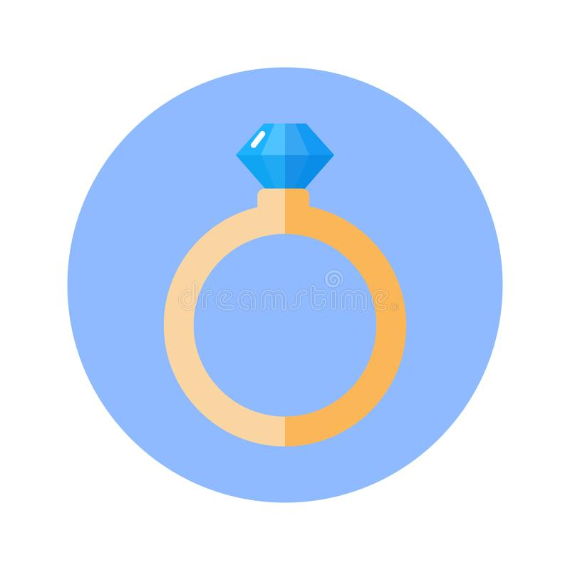 Blauer runder Hintergrund Ring With Diamond Icon Ons lokalisiert stock abbildung