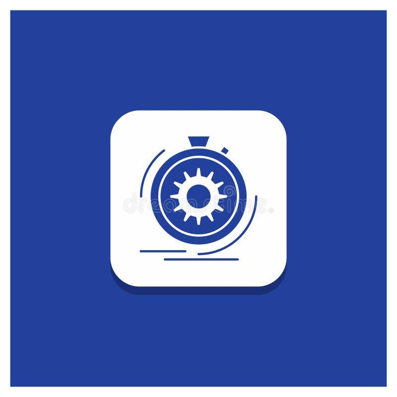 Blauer runder Knopf für Aktion, schnell, Leistung, Prozess, Geschwindigkeit Glyphikone stock abbildung