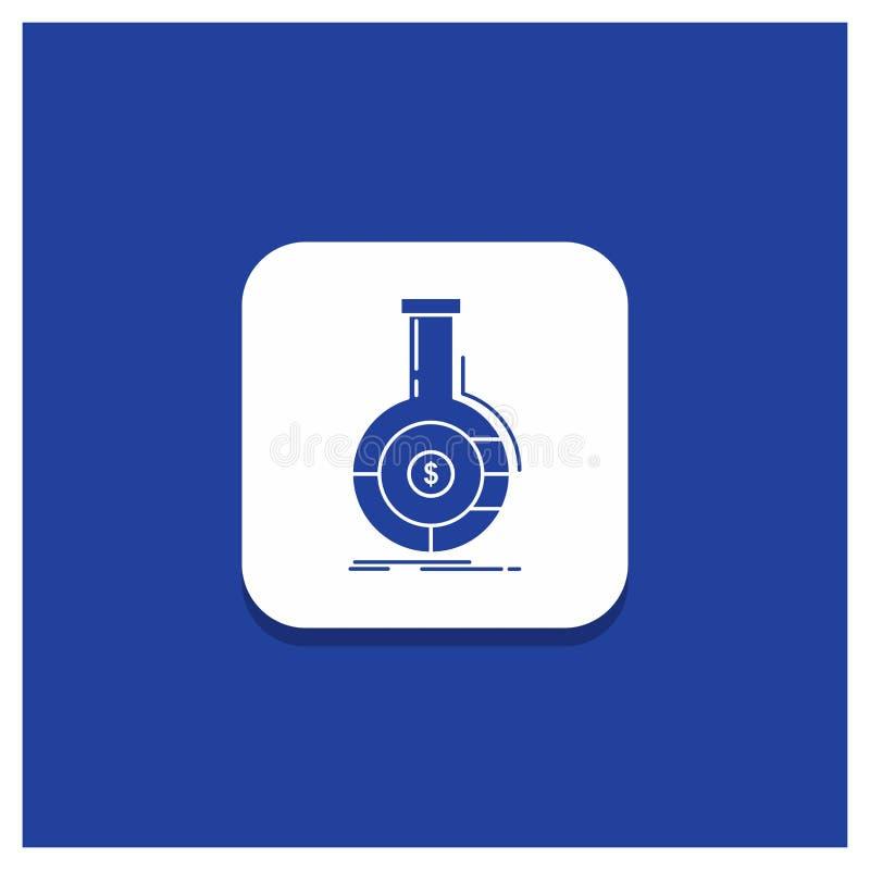 Blauer runder Knopf für Analyse, Analytics, Bankwesen, Geschäft, Finanzglyphikone vektor abbildung
