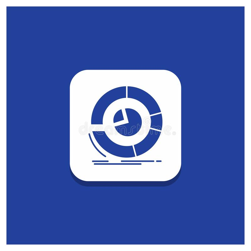 Blauer runder Knopf für Analyse, Analytics, Geschäft, Diagramm, Kreisdiagramm Glyphikone vektor abbildung
