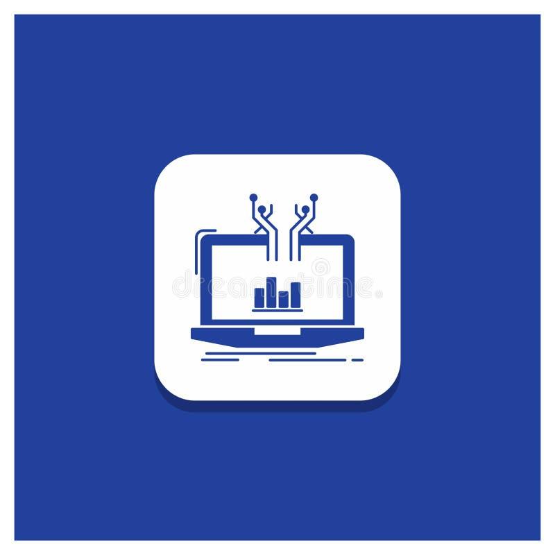 Blauer runder Knopf für Analyse, analytisch, Management, on-line, Plattform Glyphikone vektor abbildung