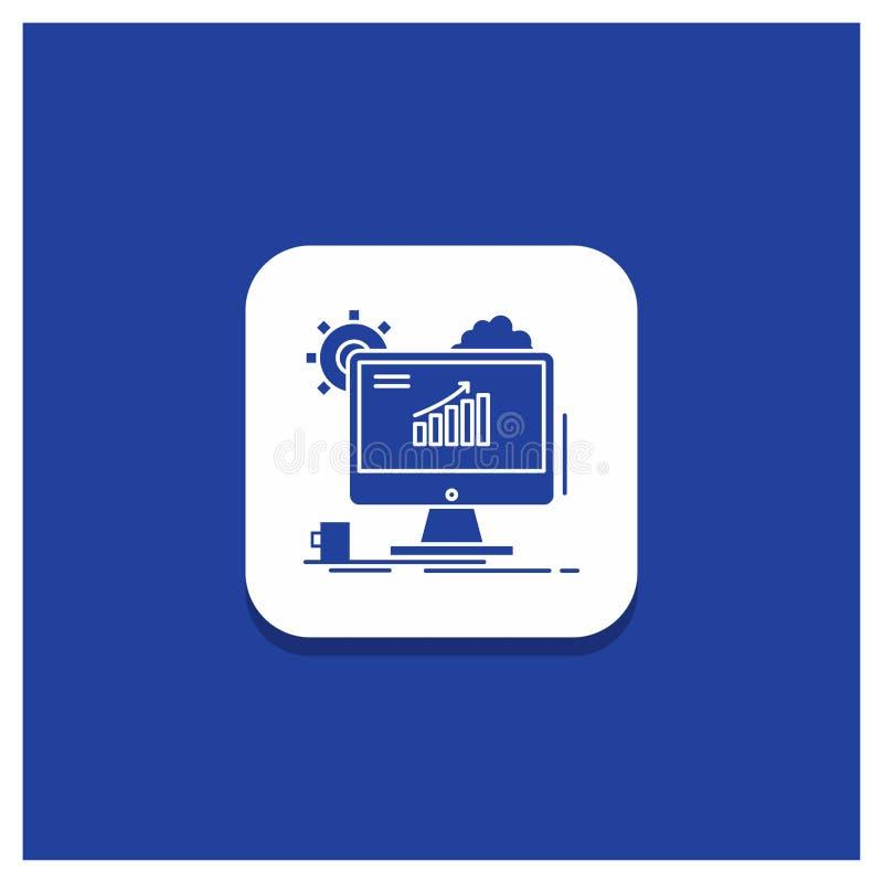 Blauer runder Knopf für Analytics, Diagramm, seo, Netz, Glyphikone einstellend stock abbildung