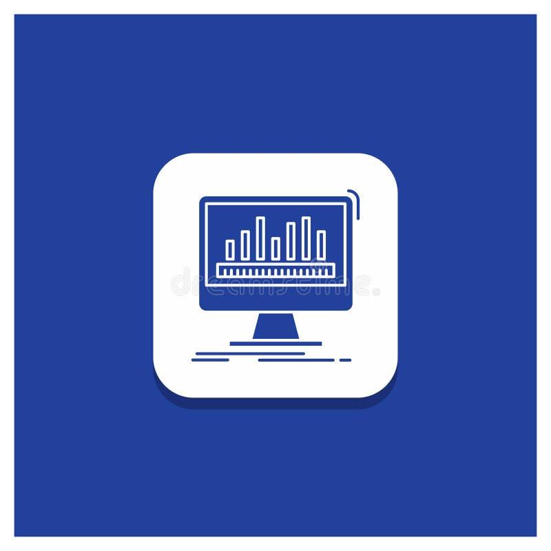 Blauer runder Knopf für Analytics, verarbeitend, Armaturenbrett, Daten, Notfall-Glyphikone vektor abbildung