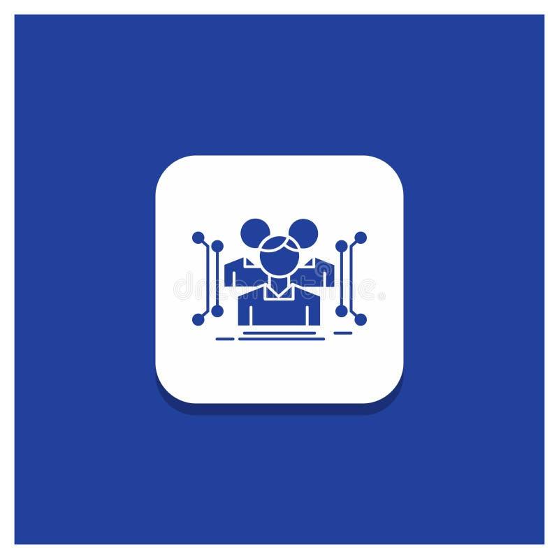 Blauer runder Knopf für Anthropometrie, Körper, Daten, menschliche, allgemeine Glyphikone lizenzfreie abbildung