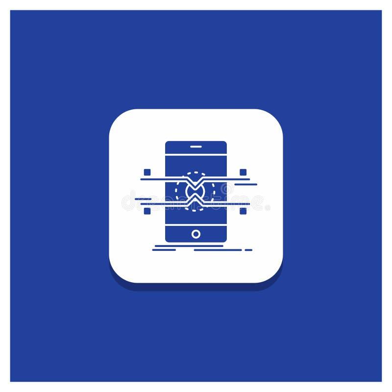 Blauer runder Knopf für API, Schnittstelle, Mobile, Telefon, Smartphone Glyphikone lizenzfreie abbildung