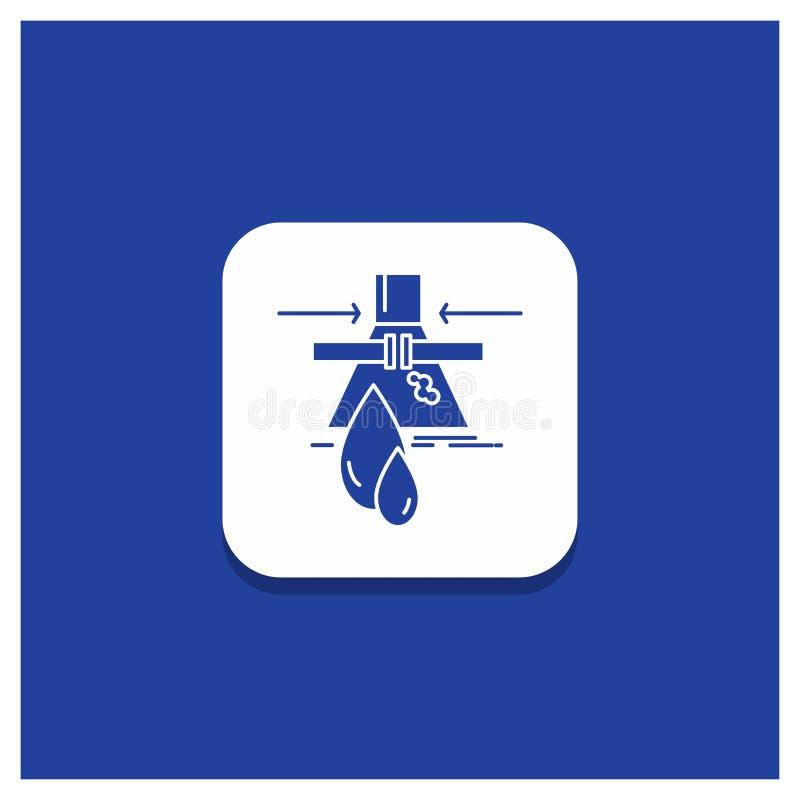Blauer runder Knopf für Chemikalie, Leck, Entdeckung, Fabrik, Verschmutzung Glyphikone stock abbildung