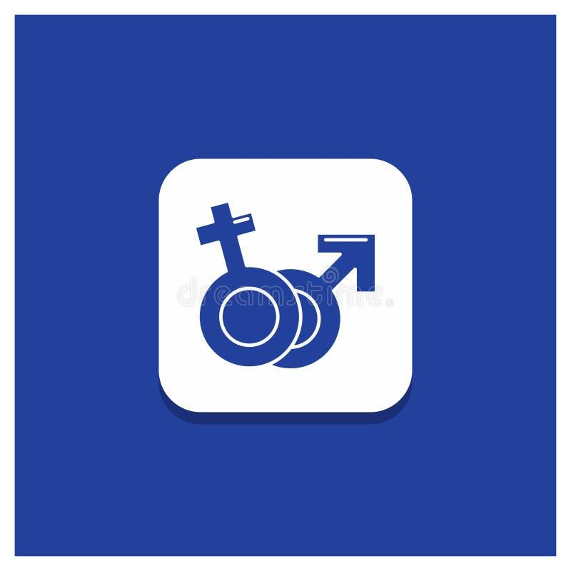 Blauer runder Knopf für Geschlecht, Venus, Mars, männliche, weibliche Glyphikone lizenzfreie abbildung