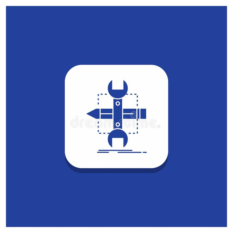 Blauer runder Knopf für Gestalt, entwerfen, entwickeln sich, skizzieren, Werkzeuge Glyphikone vektor abbildung