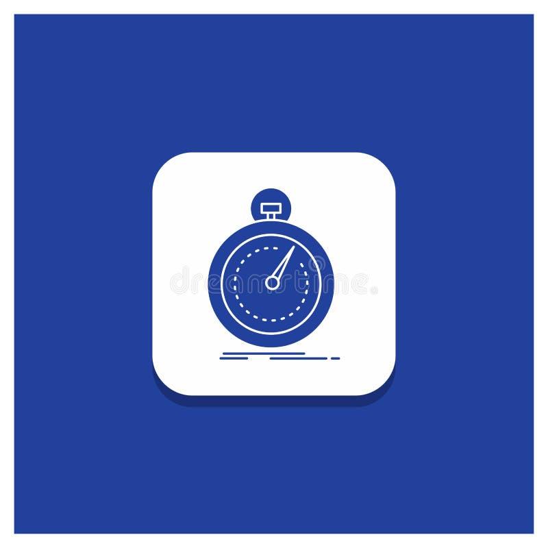 Blauer runder Knopf für getan, schnell, Optimierung, Geschwindigkeit, Sport Glyphikone vektor abbildung