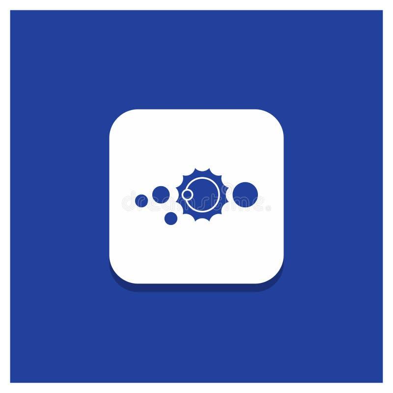 Blauer runder Knopf für Solar, System, Universum, Sonnensystem, Astronomie Glyphikone lizenzfreie abbildung