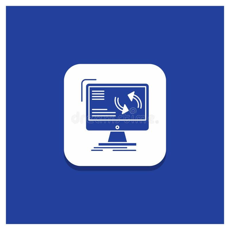 Blauer runder Knopf für Synchronisierung, Synchronisierung, Informationen, Daten, Computer Glyphikone stock abbildung