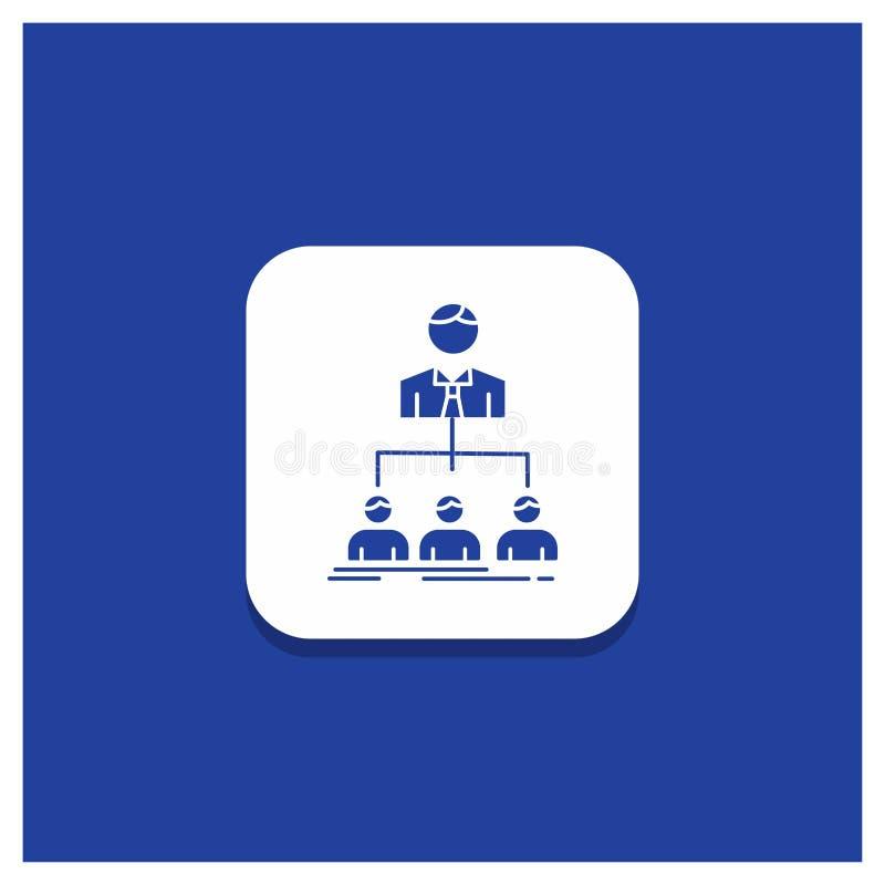 Blauer runder Knopf für Team, Teamwork, Organisation, Gruppe, Firmaglyphikone stock abbildung