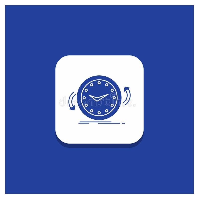 Blauer runder Knopf für Unterstützung, Uhr, rechtsläufig, Gegen, Zeit Glyphikone vektor abbildung