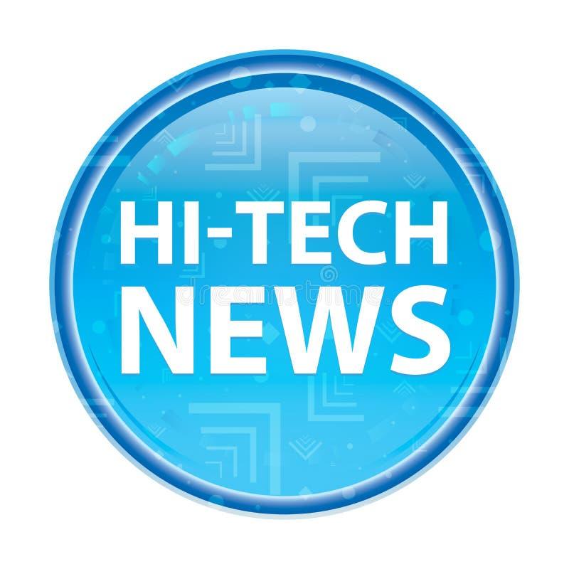 Blauer runder mit Blumenknopf der High-Techen Nachrichten lizenzfreie abbildung