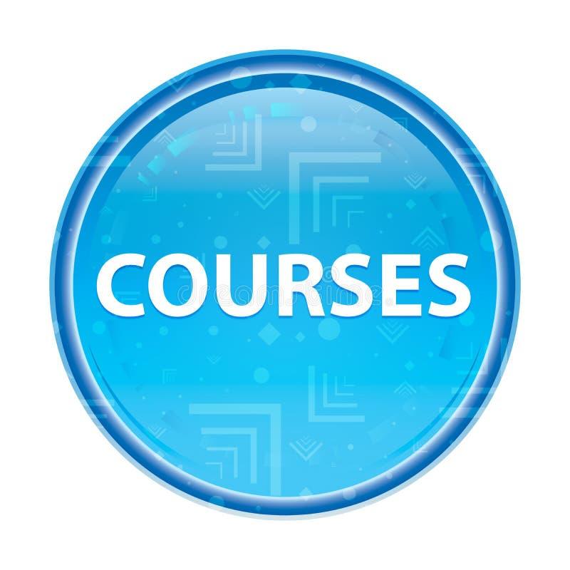 Blauer runder mit Blumenknopf der Kurse stock abbildung
