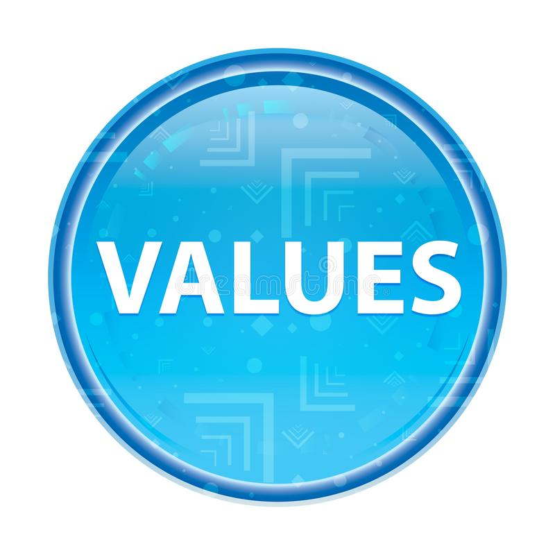 Blauer runder mit Blumenknopf der Werte lizenzfreie abbildung