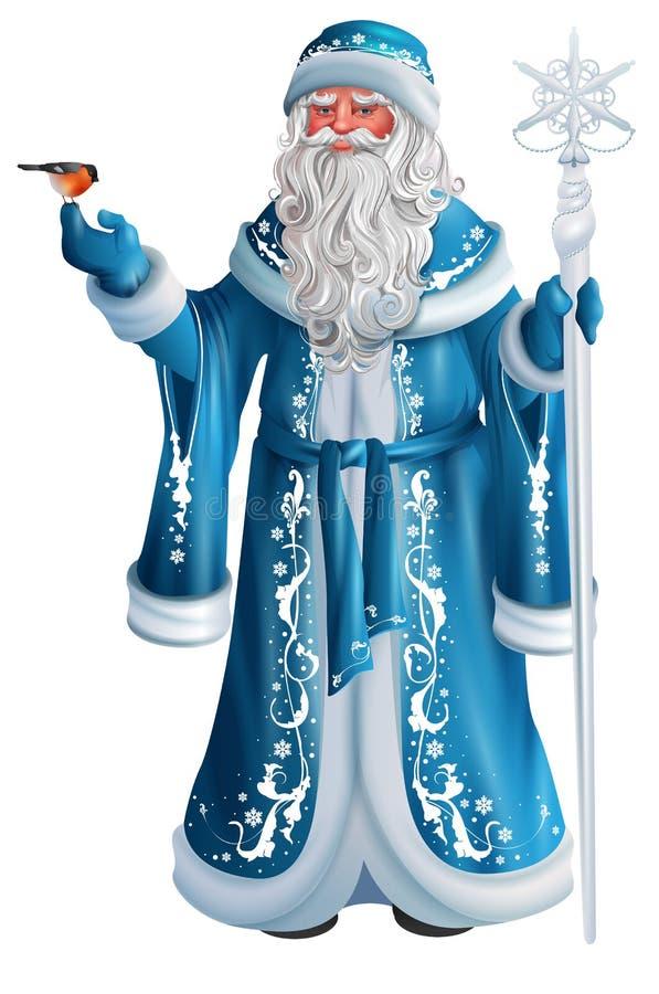 Blauer russischer großväterlicher Frost Russe Santa Claus Saint Nicholas vektor abbildung