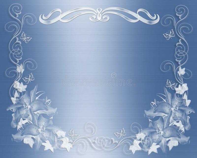 Blauer Satin der Hochzeitseinladung mit Blumen vektor abbildung