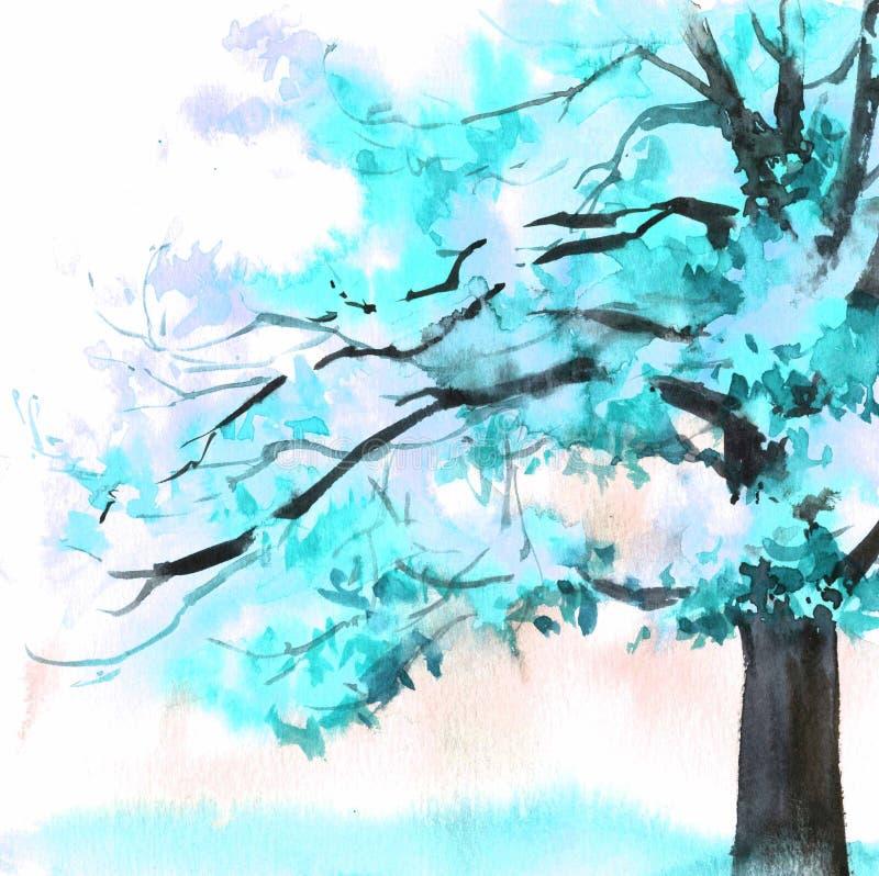 Blauer schöner Baum des Aquarells Handgezogene Illustration für Karte, Postkarte, Abdeckung, Einladung, Gewebe vektor abbildung