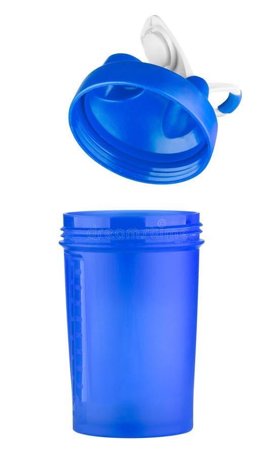 Blauer Schüttel-Apparat für Sportnahrung mit einem offenen Deckel stockbilder