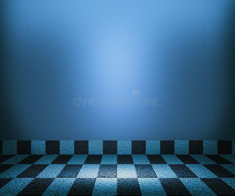 Blauer Schachbrett-Mosaik-Raum-Hintergrund stockfoto