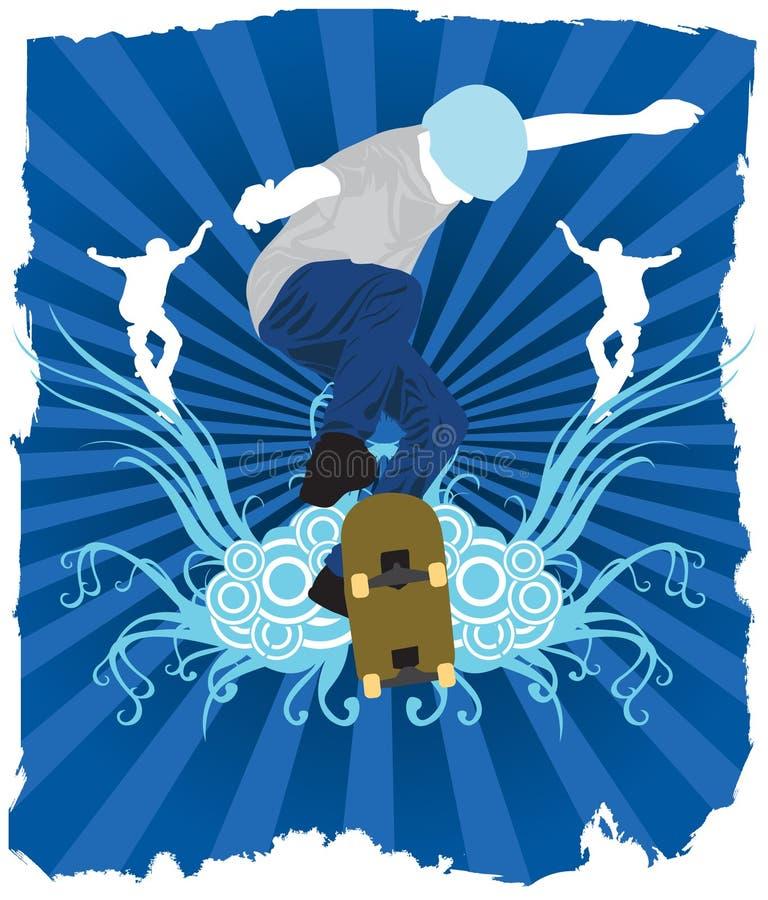 Blauer Schlittschuhläufer stock abbildung