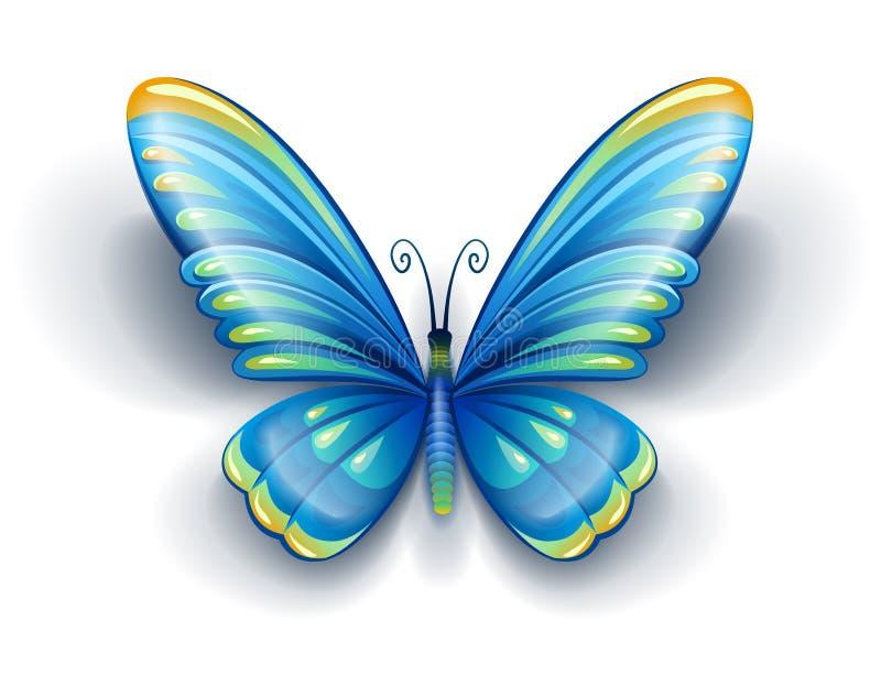 Blauer Schmetterling mit Farbflügeln lizenzfreie abbildung