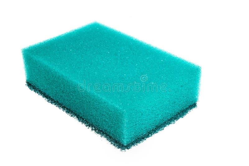 Blauer Schwamm für Warenreinigung lokalisiert auf einem weißen Hintergrund stockbilder