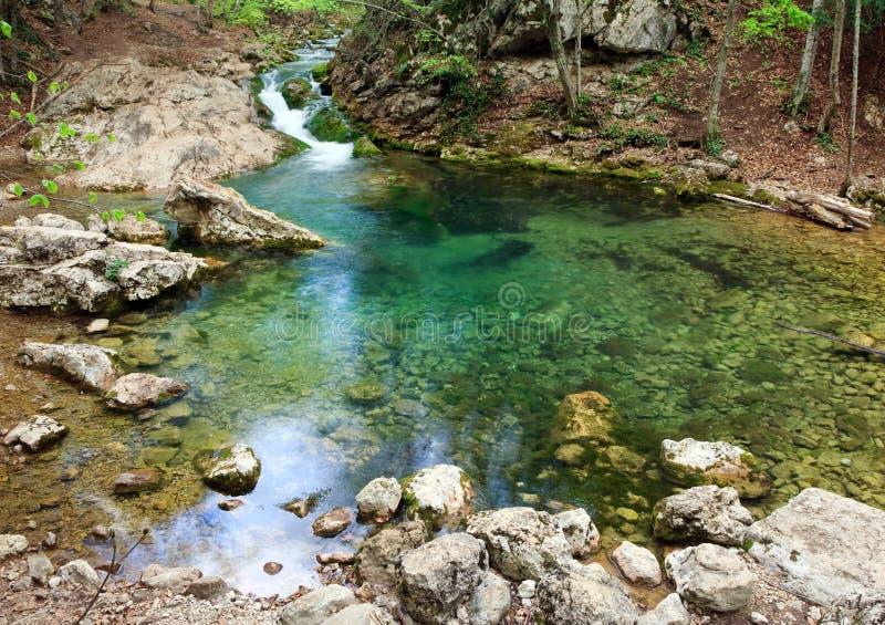 Blauer See auf Gebirgsfluß lizenzfreies stockfoto