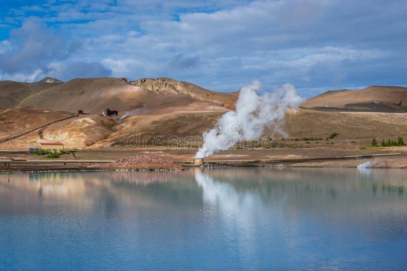 Blauer See in Reykjahlid stockbilder