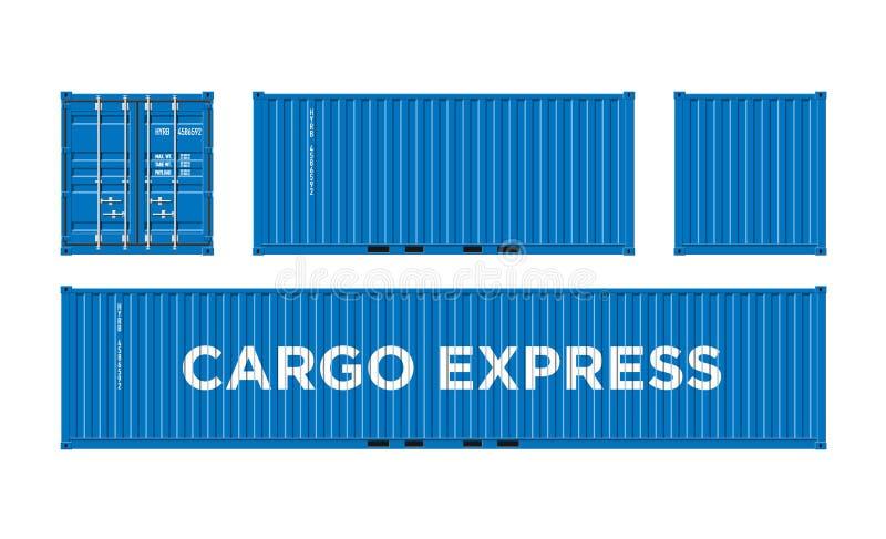 Blauer Seefracht-Behälter für Logistik und Transport lokalisiert auf der weißen Hintergrund-Vektor-Illustration einfach zu ändern lizenzfreie abbildung