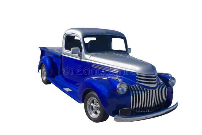 Blauer silberner LKW mit zwei Tönen stockfotografie