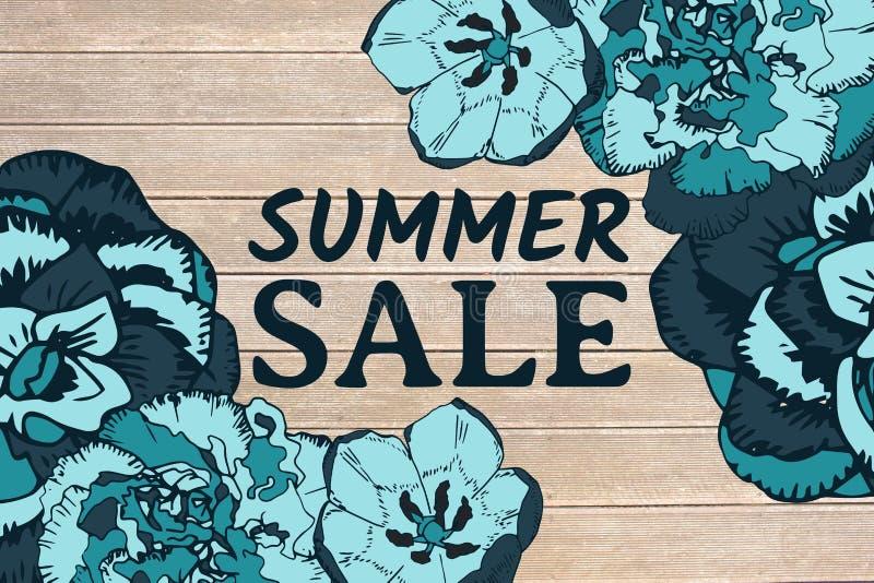 Blauer Sommerschlussverkauftext und blaue Blumengraphiken gegen Decking lizenzfreie abbildung