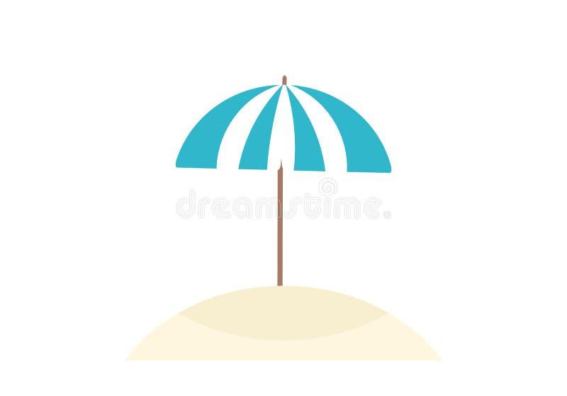 Blauer Sonnenschirm auf dem Strand lokalisiert auf wei?em Hintergrund stock abbildung