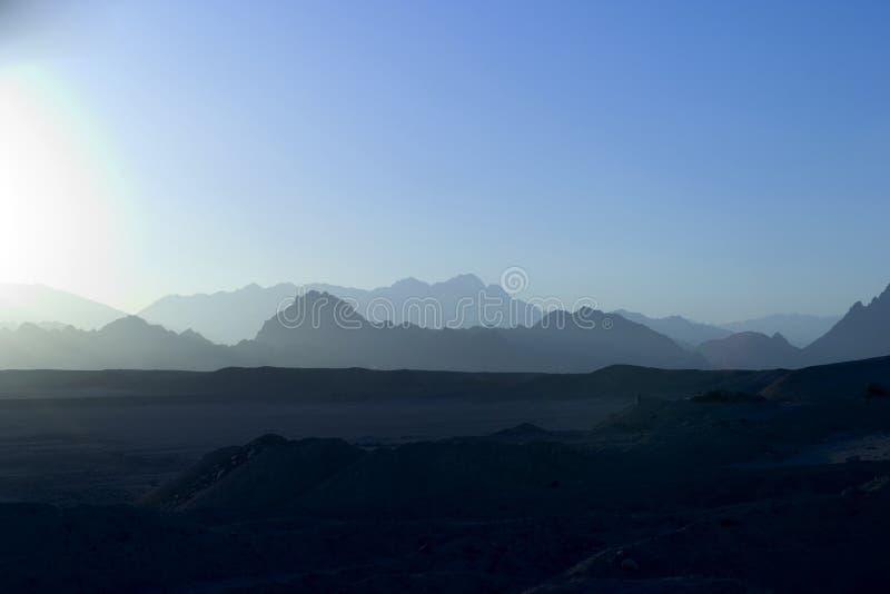 Blauer Sonnenuntergang Sinai-Berg Lizenzfreies Stockbild