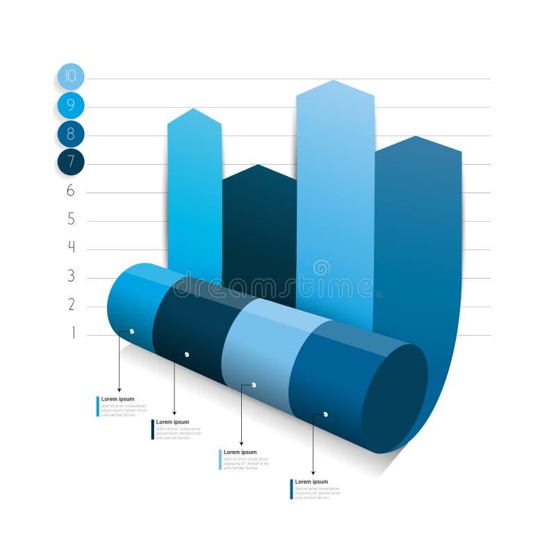 Blauer Spaltenpfeil, der 3D Diagramm, Diagramm rollt lizenzfreie abbildung