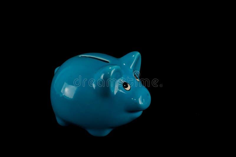 Blauer Sparschwein- oder Geldkasten lokalisiert lizenzfreie stockfotos