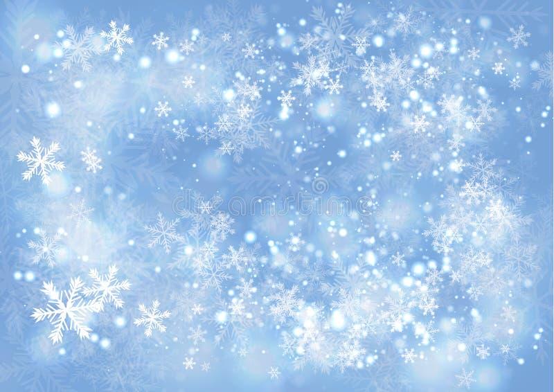 Blauer Steigungswinter-Papierhintergrund mit dem Schnee und dem snowflak lizenzfreie abbildung