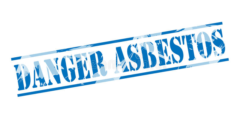 Blauer Stempel des Gefahrenasbests lizenzfreie abbildung