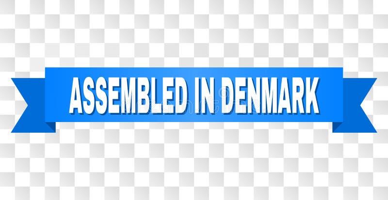 Blauer Streifen mit ZUSAMMENGEBAUT IN DÄNEMARK-Text vektor abbildung