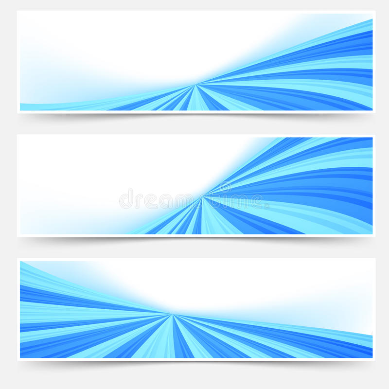 Blauer Strom Swooshtitelseitenende-Netzsatz vektor abbildung