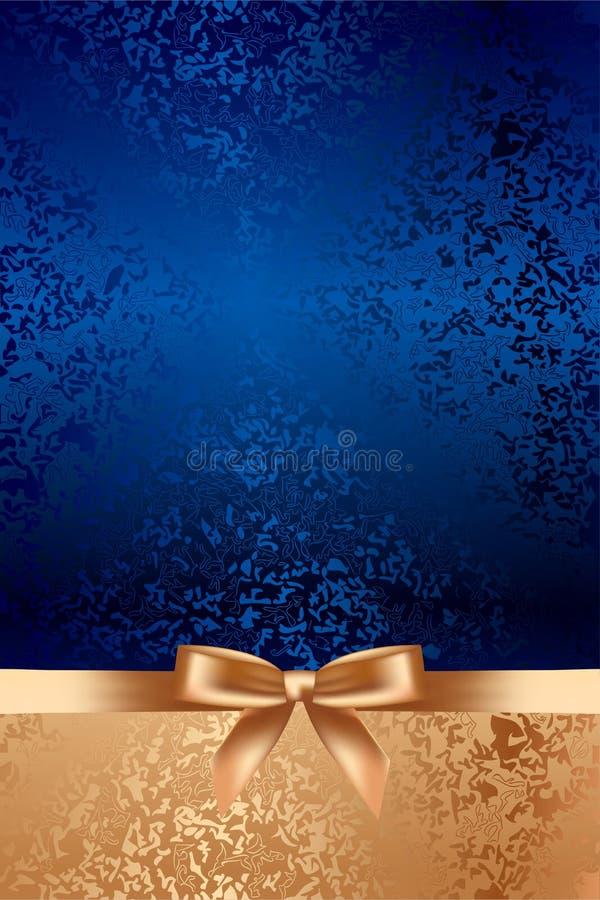 Blauer strukturierter Hintergrund mit Goldbogen lizenzfreie abbildung